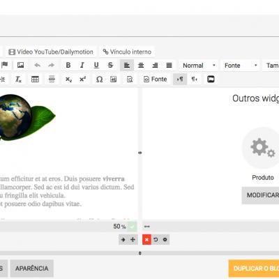 Editor visual: integrar conteúdo em uma página