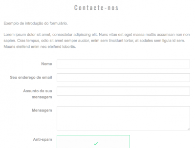 Formulário de contacto exibido no site