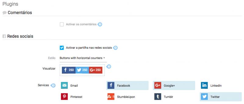 Plugins redes sociais